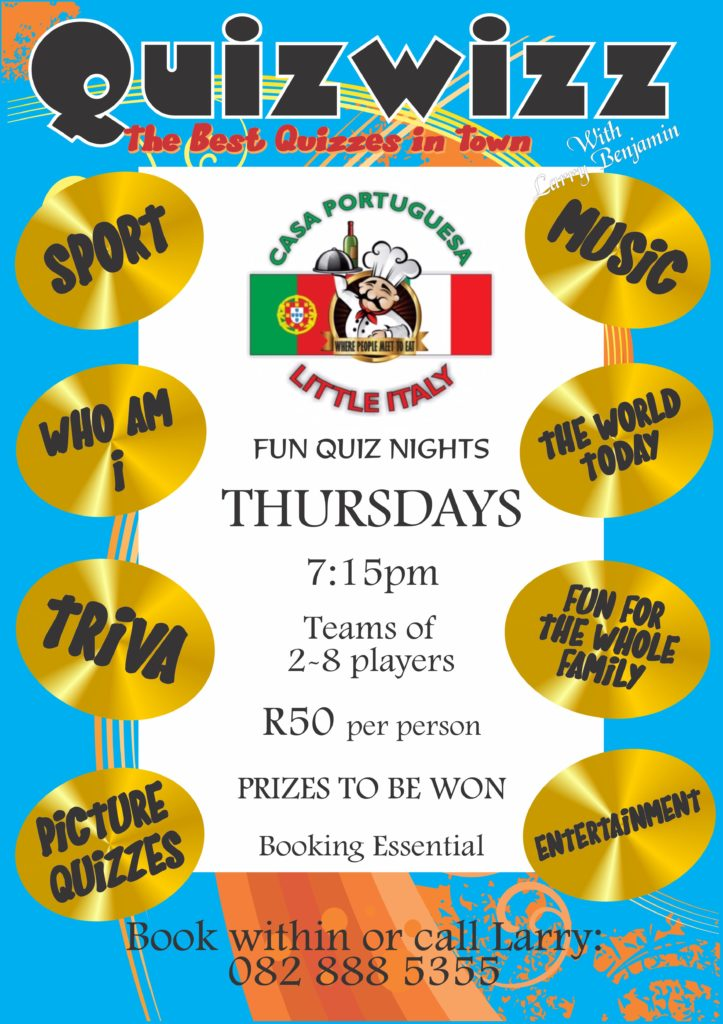 LITTLE ITALY (GLENANDA- JHB SOUTH) -OCCASIONAL QUIZZES